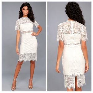 Lulus NWOT Remarkable White Lace Midi Dress